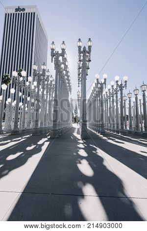 Los Angeles, CA - January 17, 2017: 'Urban Light' is a large-scale assemblage sculpture by Chris Burden at the Los Angeles County Museum of Art. The installation consists of 202 restored street lamps.