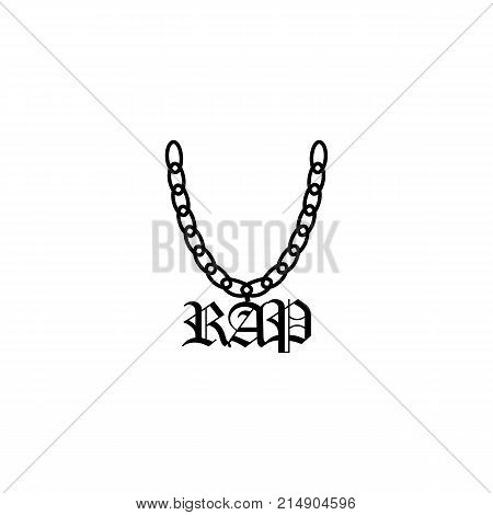 A chain with a symbol of rap. The icon. A sketch. Isolated on white background. It can be used as posters printed materials videos mobile apps web sites and print projects.
