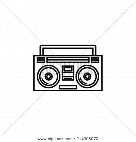 Boom box or radio cassette tape player icon on white background