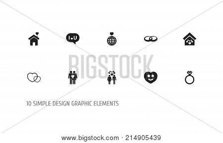 Set Of 10 Editable Heart Icons. Includes Symbols Such As Beau, Happy, Couple And More