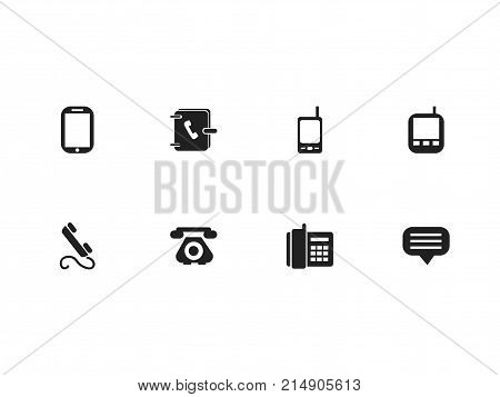 Set Of 8 Editable Device Icons. Includes Symbols Such As Tablet, Transceiver, Home Cellphone And More