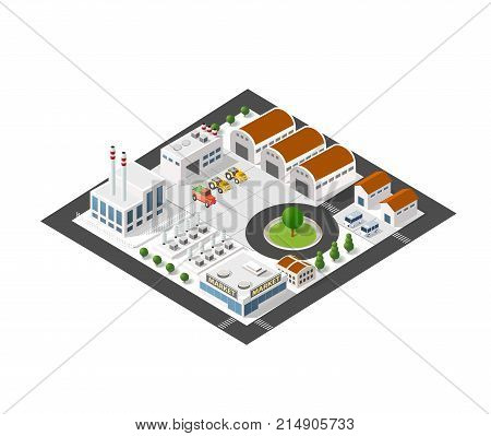Isometric industrial landscape of the plant top view with streets, houses, warehouses, hangars