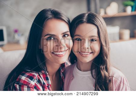 Support, Trust Stable, Strong Family Concept. Close Up Portrait Of Happy Tender Smiling Mom And Her