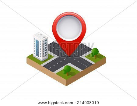 A navigation sign and pin symbol on city urban map indicating the location and direction