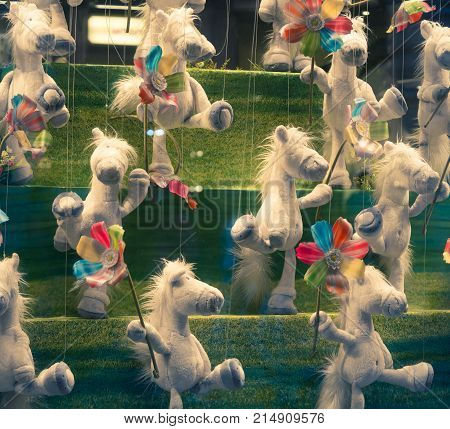 close up shot of the marionette horses