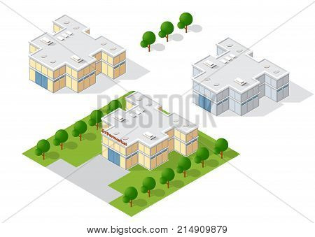 Supermarket shop 3D dimensional building of modern architecture of urban construction. Drawing map engineering design landscape top view