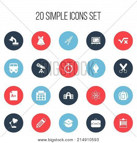 Set Of 20 Editable Knowledge Icons. Includes Symbols Such As Supervision List, Lighting, Backpack And More