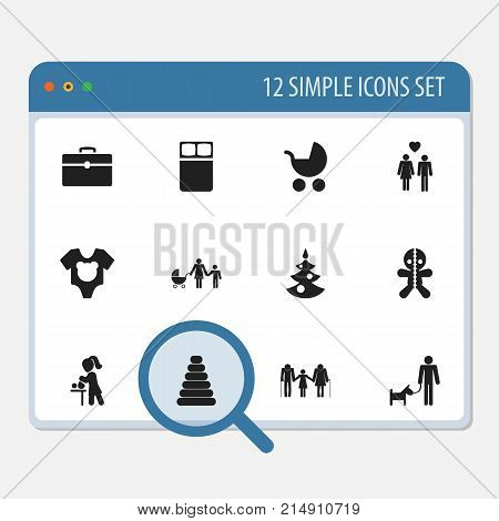 Set Of 12 Editable Folks Icons. Includes Symbols Such As Wizard, Perambulator, Family And More