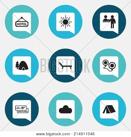 Set Of 9 Editable Travel Icons. Includes Symbols Such As Tabernacle, Map, Registration And More