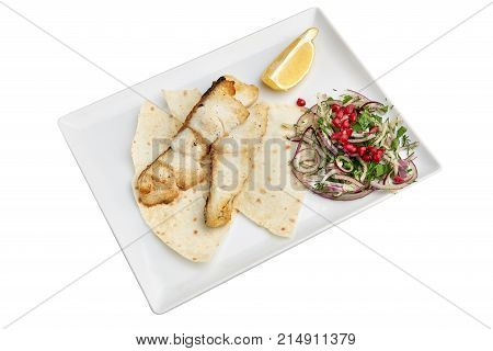 Halibut skewers on a plate on a white background isolation