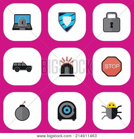 Set Of 9 Editable Safety Flat Icons. Includes Symbols Such As Alarm, Close, Dynamite And More