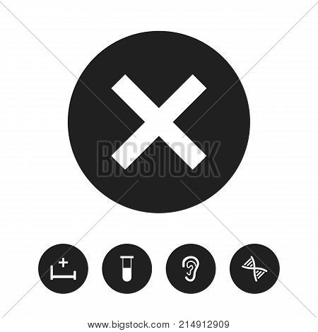 Set Of 5 Editable Health Icons. Includes Symbols Such As Analysis Container, Clinic Room, Genome And More