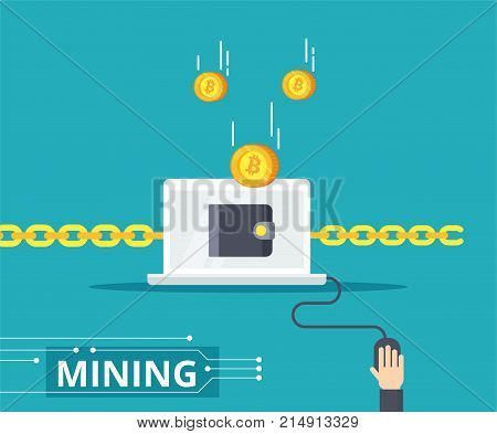 Blockchain vector illustration in flat style. The chains marge computers to the network. Mining process - bitcoin get to the wallet.