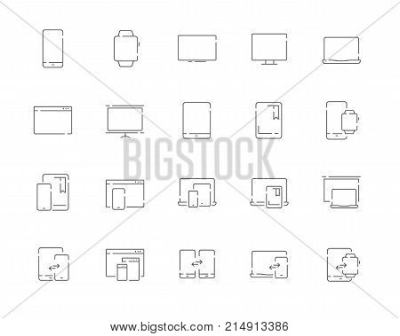 Simple set of devices vector line web icons. Contains such Icons as mobile phone, tablet, desktop, watch, projector, desktop, tv, e-reader and more. Editable Stroke. 48x48 Pixel Perfect.