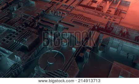 Hi-tech futuristic techno background. Abstract geometric pattern. 3d rendering