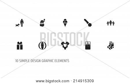Set Of 10 Editable Relatives Icons. Includes Symbols Such As Hosiery, Father With Dog, Gift And More