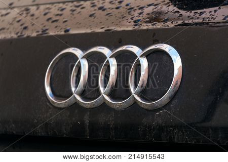 Tabor, Czech Republic - November 19: Audi Company Logo On Wet Car On November 19, 2017 In Tabor, Cze