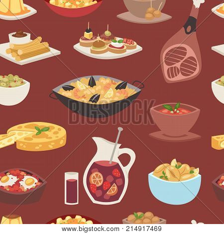 Spain cuisine vector food cookery traditional dish recipe spanish snack tapas crusty bread food gastronomy illustration. Cooked meat typical italian seafood seamless pattern background