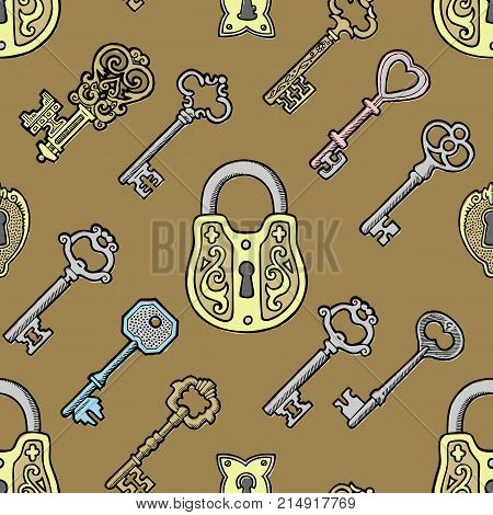 Vector key vintage old sketch retro lock illustration of lock from antique keystone open door keyhole security secret victorian design symbols seamless pattern background
