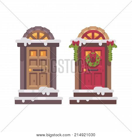 Two Winter Doors. Christmas Decorated Porch Flat Illustration