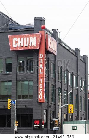 Toronto Canada - Oct 14 2017: Building of the CHUM-FM radio station in the city of Toronto. CHUM-FM is a canadian radio station operated by Bell Media