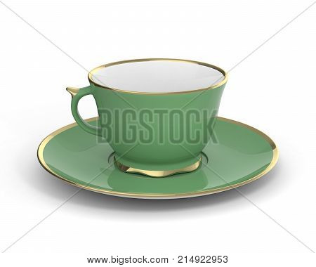 Isolated antique porcelain green tea cup on saucer with gold edging on white background. Vintage crockery. 3D Illustration. poster