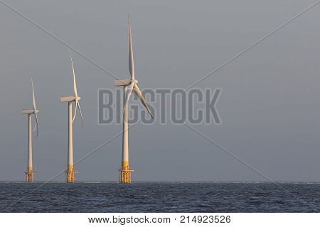 Offshore wind turbines. Windfarm on the sea horizon. Clean energy. Profile of three massive sustainable resource power generation turbines.