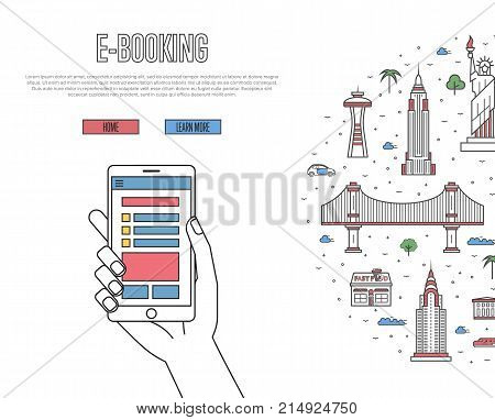 Online tickets ordering poster with american famous architectural landmarks in linear style. E-booking vector with smartphone in hand, mobile payment concept. World traveling, USA historic attractions