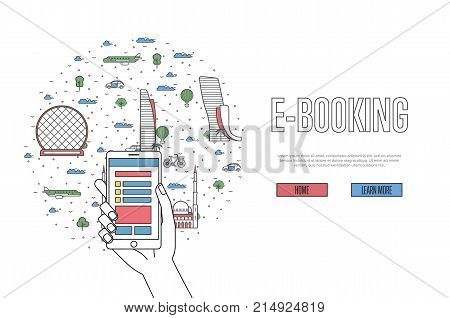 E-booking poster with Abu Dhabi famous architectural landmarks in linear style. Online tickets ordering, mobile payment vector with smartphone in hand. World traveling, UAE historic attractions