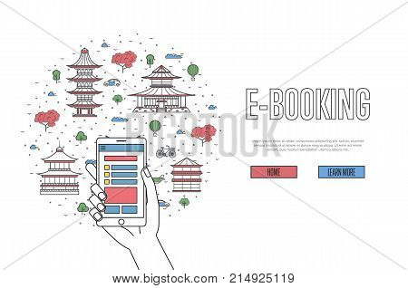 E-booking poster with american famous architectural landmarks in linear style. Online tickets ordering, mobile payment vector concept with smartphone in hand. World traveling, USA historic attractions