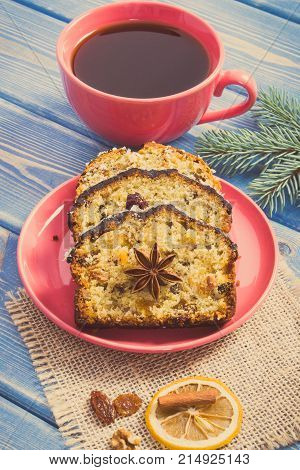 Vintage Photo, Cup Of Coffee, Fresh Fruitcake For Christmas And Spruce Branches