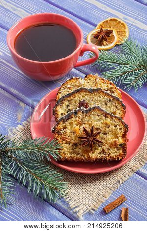 Cup Of Coffee, Fresh Baked Fruitcake For Christmas And Spruce Branches, Dessert For Xmas Concept