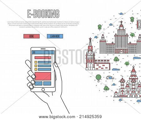 Online tickets ordering poster with russian famous architectural landmarks in linear style. E-booking vector with smartphone in hand, mobile payment. World traveling, Moscow historic attractions.