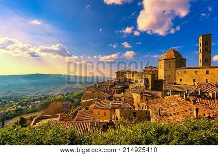 Tuscany Volterra town skyline church and panorama view on sunset. Maremma Italy Europe