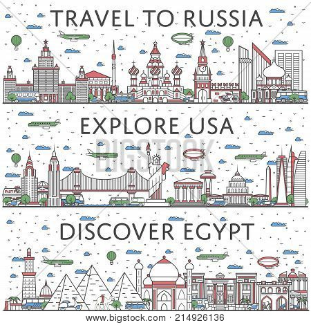 Worldwide traveling posters with egyptian, russian and american city panoramas in linear style. Touristic tour advertising, famous world architectural attractions. Global tourism and journey concept.