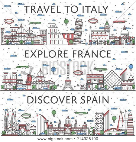 European traveling posters with italian, french and spanish city panoramas in linear style. Touristic tour advertising, famous world architectural attractions. Global tourism, time to travel concept.