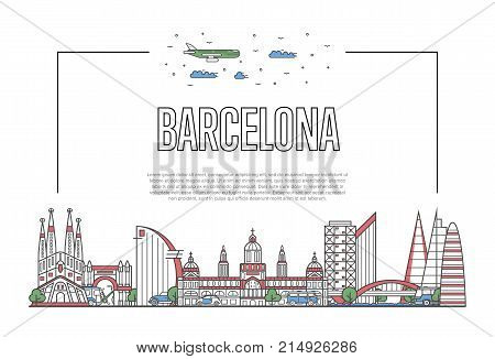 Travel Barcelona poster with famous architectural attractions in linear style. Spanish traveling and time to travel concept. Barcelona landmarks, city skyline, european tourism vector background