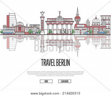 Travel tour to Berlin poster with famous architectural attractions in linear style. German traveling and time to travel vector concept. Berlin panorama with landmarks, touristic tour advertising.