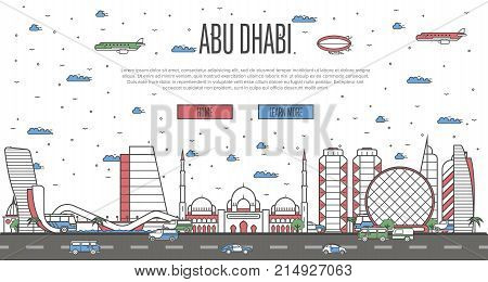Abu Dhabi skyline with national famous landmarks in linear style. Arab Emirates traveling vector, touristic tour advertising with Abu Dhabi historic architectural attractions on white background.