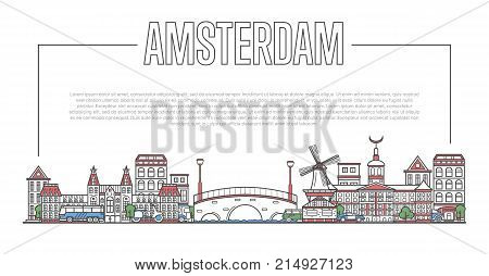 Amsterdam city landmark panorama with famous modern and ancient architecture in linear style. Amsterdam national landmarks on white background. Worldwide traveling, european journey vector concept.