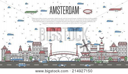 Amsterdam skyline with national famous landmarks in linear style. Holland traveling vector concept, touristic tour advertising with Amsterdam historic architectural attractions on white background.