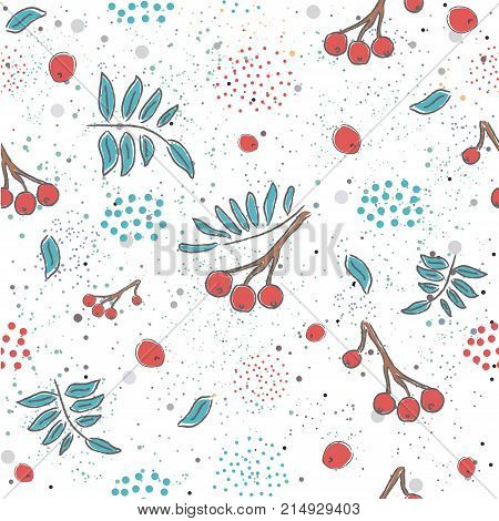 Red berry Christmas Brier Spray Pattern. Hand drawn whimsical traditional style. Colorful artistic design. For backgrounds wallpapers fabric prints textiles wrapping cards cover.
