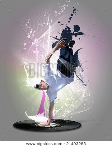 Street dancer in a white shirt on an abstract background. collage poster