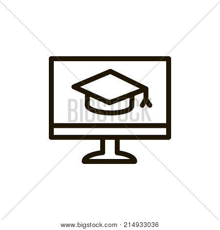 E-learning line icon. High quality black outline logo for web site design and mobile apps. Vector illustration on a white background.