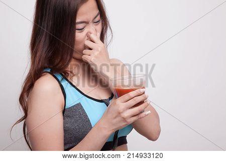 Beautiful Healthy Asian Girl Hate  Tomato Juice.