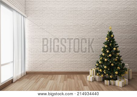 Christmas tree decorations with cosy living room. 3d Rendering