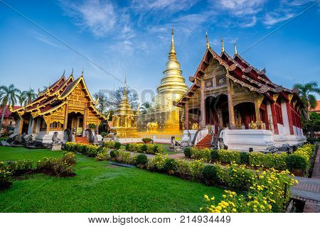 Sunrise scence of Wat Phra Singh temple. This temple contains supreme examples of Lanna art in the old city center of Chiang MaiThailand.