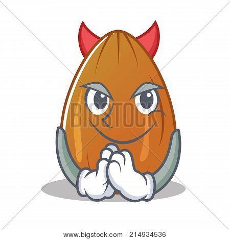 Devil almond nut character cartoon vector illustration