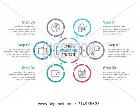 Circle infographics template with six elements, process diagram, steps, options, vector eps10 illustration