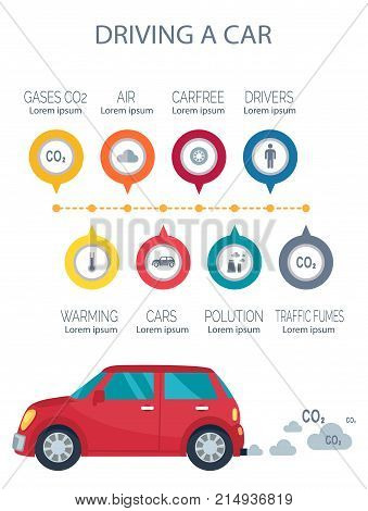 Driving a car poster representing transport icon and emissions of co2, polluting our environment sign symbols vector illustrations isolated on white